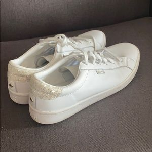 KEDS Kate Spade white leather glitter sneakers. 8